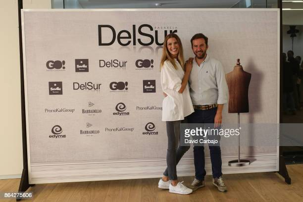 Laura Sanchez poses with Javier Villa director of the event Pasarela del Sur on October 20 2017 in Seville Spain
