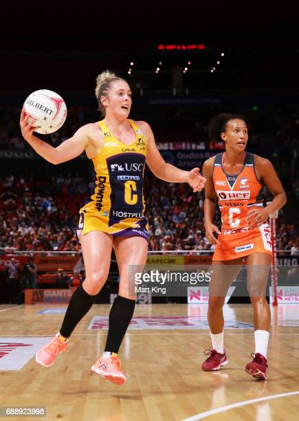 Laura Scherian of the Lightning catches the ball during the round 14 Super Netball match between the Giants and the Lightning at Qudos Bank Arena on...