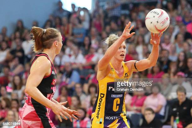 Laura Scherian of the Lightning passes during the round three Super Netball match between the Thunderbirds and the Lightning at Priceline Stadium on...