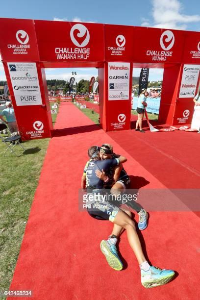 Laura Siddall of Great Britain and Yvonne van Vlerken of Austria embrace following the 2017 Challenge Wanaka on February 18 2017 in Wanaka New Zealand