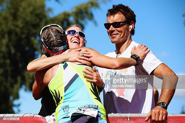 Laura Siddall of Great Britain celebrates finishing second during the Challenge Wanaka on February 22 2015 in Wanaka New Zealand