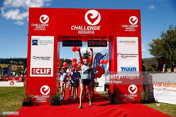 Laura Siddall of Great Britain celebrates following the Challenge Wanaka on February 22 2015 in Wanaka New Zealand