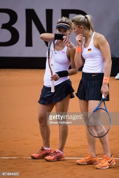 Laura Siegemund and Carina Witthoeft of Germany during the doubles match against Olga Savchuk and Nadiia Kichenok of Ukraine during the FedCup World...