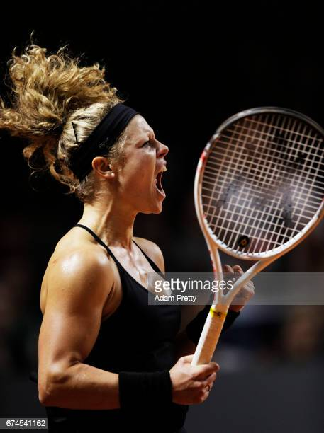 Laura Siegemund of Germany celebrates a point during her match against Karolina Pliskova of the Czech Republic during the Porsche Tennis Grand Prix...