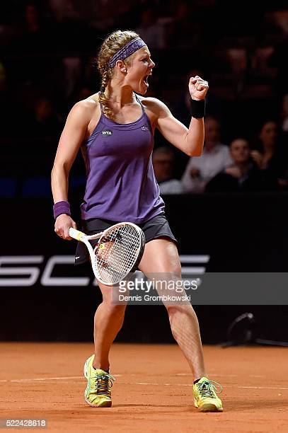 Laura Siegemund of Germany celebrates a point in her match against Anastasia Pavlyuchenkova of Russia during Day 2 of the Porsche Tennis Grand Prix...