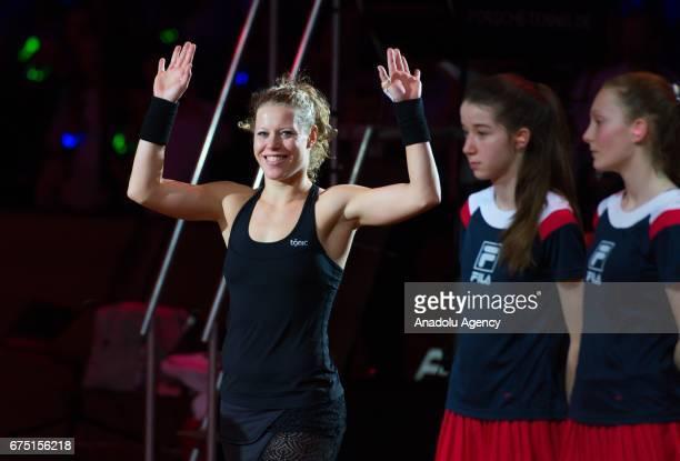 Laura Siegemund of Germany celebrates after her match against Kristina Mladenovic of France during the Porsche Tennis Grand Prix at Porsche Arena in...