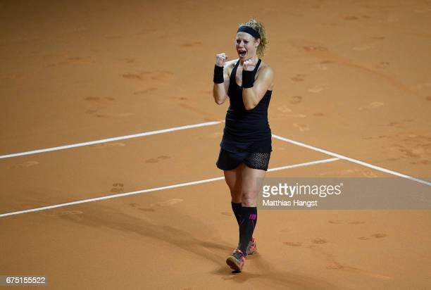 Laura Siegemund of Germany celebrates winning match point during the singles final match against Kristina Mladenovic of France on Day 7 of the...