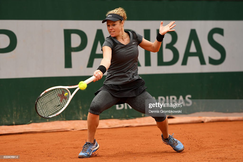 <a gi-track='captionPersonalityLinkClicked' href=/galleries/search?phrase=Laura+Siegemund&family=editorial&specificpeople=7791239 ng-click='$event.stopPropagation()'>Laura Siegemund</a> of Germany hits a forehand during the Ladies Singles first round match against Eugenie Bouchard of Canada on day three of the 2016 French Open at Roland Garros on May 24, 2016 in Paris, France.