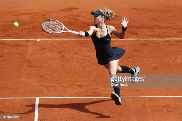 Laura Siegemund of Germany in action against Barbara Krejcikova of Czech Republic in the round of sixteen during the WTA Nuernberger Versicherungscup...
