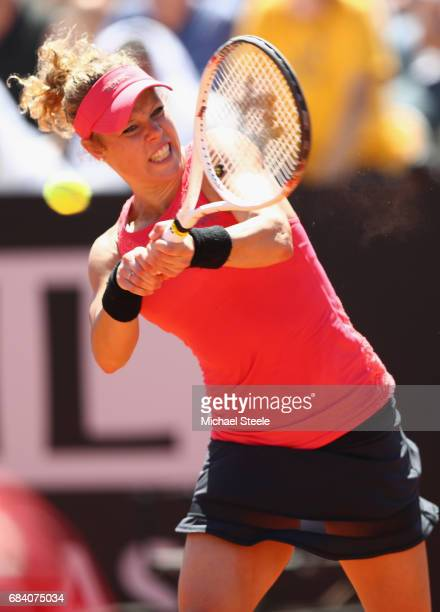 Laura Siegemund of Germany in action during her second round match against Simona Halep of Romania on Day Four of The Internazionali BNL d'Italia...