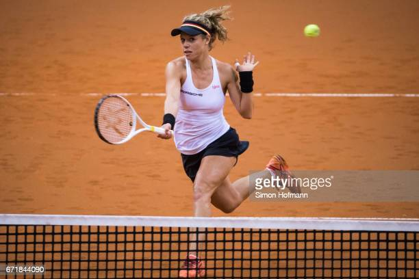 Laura Siegemund of Germany in action during the doubles match against Olga Savchuk and Nadiia Kichenok of Ukraine during the FedCup World Group...