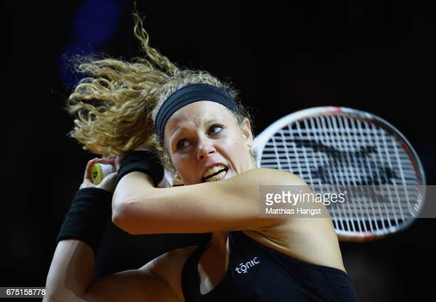 Laura Siegemund of Germany in action during the singles final match against Kristina Mladenovic of France on Day 7 of the Porsche Tennis Grand Prix...