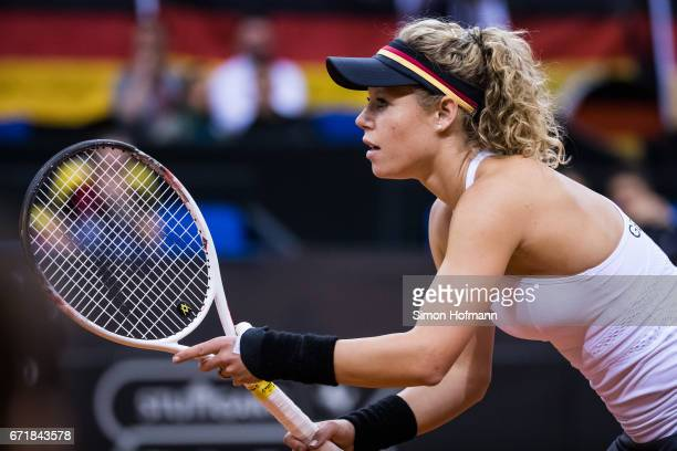 Laura Siegemund of Germany looks on during the FedCup World Group PlayOff match between Germany and Ukraine at Porsche Arena on April 23 2017 in...