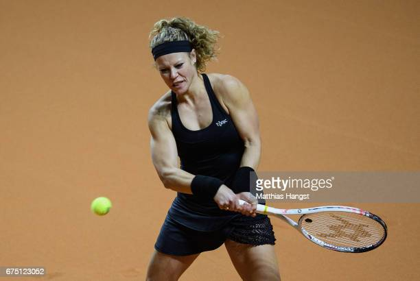 Laura Siegemund of Germany lunges plays a backhand during the singles final match against Kristina Mladenovic of France on Day 7 of the Porsche...