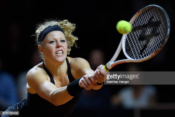 Laura Siegemund of Germany plays a backhand during the singles final match against Kristina Mladenovic of France on Day 7 of the Porsche Tennis Grand...
