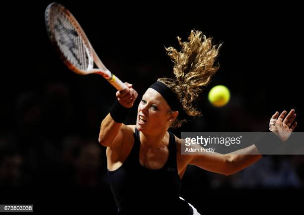 Laura Siegemund of Germany plays a forehand during her match against Svetlana Kuznetsova of Russia during the Porsche Tennis Grand Prix at Porsche...