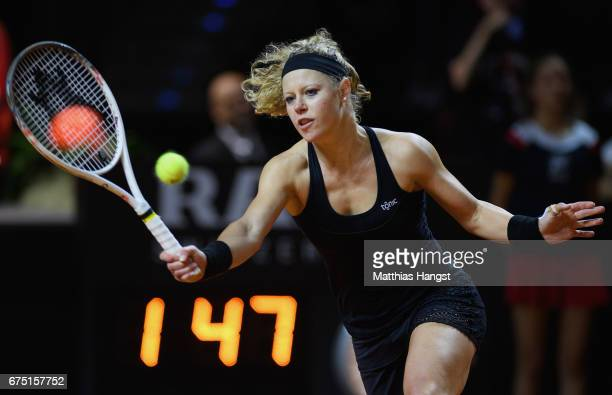 Laura Siegemund of Germany plays a forehand during the singles final match against Kristina Mladenovic of France on Day 7 of the Porsche Tennis Grand...