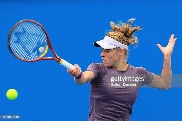Laura Siegemund of Germany plays a forehand in her qualifying match against Stephanie Vogt of Liechtenstein for the 2015 Australian Open at Melbourne...