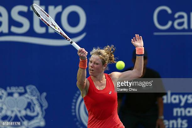 Laura Siegemund of Turkey in action during round two of the 2016 BMW Malaysian Open at Kuala Lumpur Golf Country Club on March 1 2016 in Kuala Lumpur...