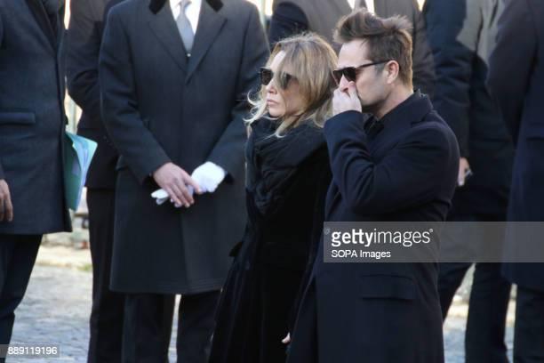 Laura Smet and David Hallyday during Johnny Hallydays funerals at Eglise de la Madeleine