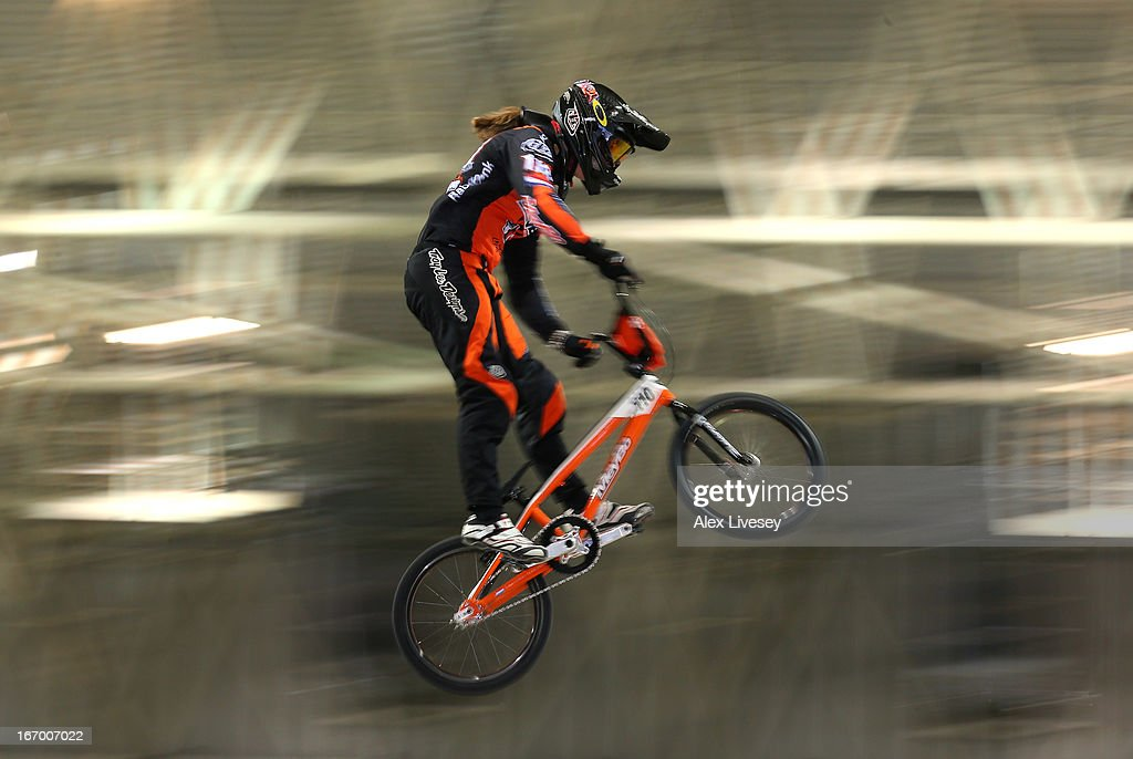 Laura Smulders of Holland takes the first jump during the Women's Elite Time trials Superfinal in the UCI BMX Supercross World Cup at National Cycling Centre on April 19, 2013 in Manchester, England.