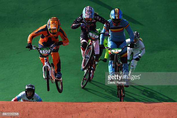 Laura Smulders of the Netherlands Brooke Crain of the United States and Elke Vanhoof of Belgium compete during the Women's Semi Finals on day 14 of...