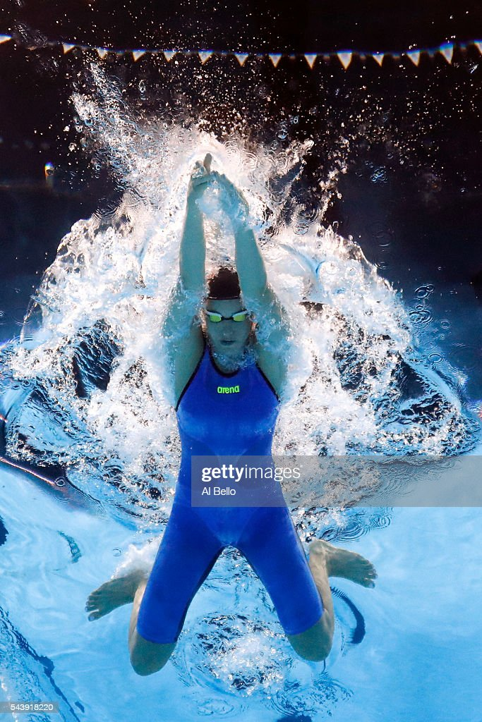 Laura Sogar of the United States competes in a heat for the Women's 200 Meter Breaststroke during Day Five of the 2016 U.S. Olympic Team Swimming Trials at CenturyLink Center on June 30, 2016 in Omaha, Nebraska.