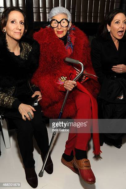 Laura SolinValdina and Fashion icon Iris Apfel attends the Ralph Rucci fashion show during MercedesBenz Fashion Week Fall 2014 on February 9 2014 in...