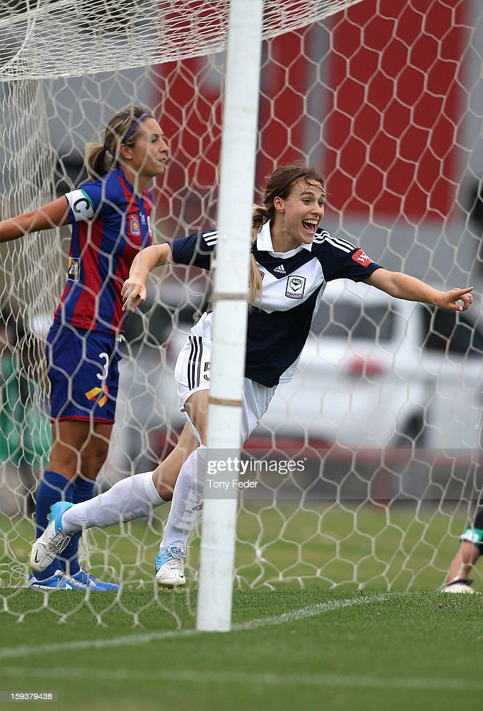 Laura Spiranovic of the Melbourne Victory celebrates a goal during the round 12 W-League match between the Newcastle Jets and the Melbourne Victory at Wanderers Oval on January 13, 2013 in Newcastle, Australia.