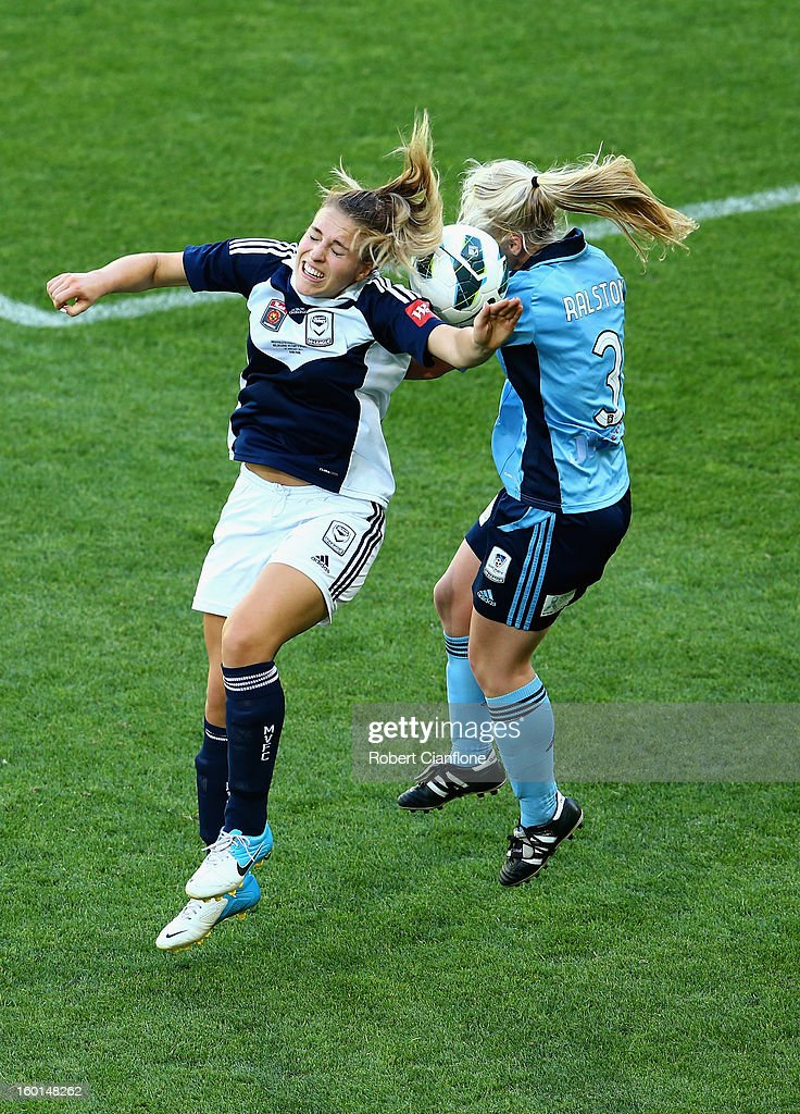 Laura Spiranovic of the Victory challenges Elizabeth Ralston of Sydney FC during the W-League Grand Final between the Melbourne Victory and Sydney FC at AAMI Park on January 27, 2013 in Melbourne, Australia.