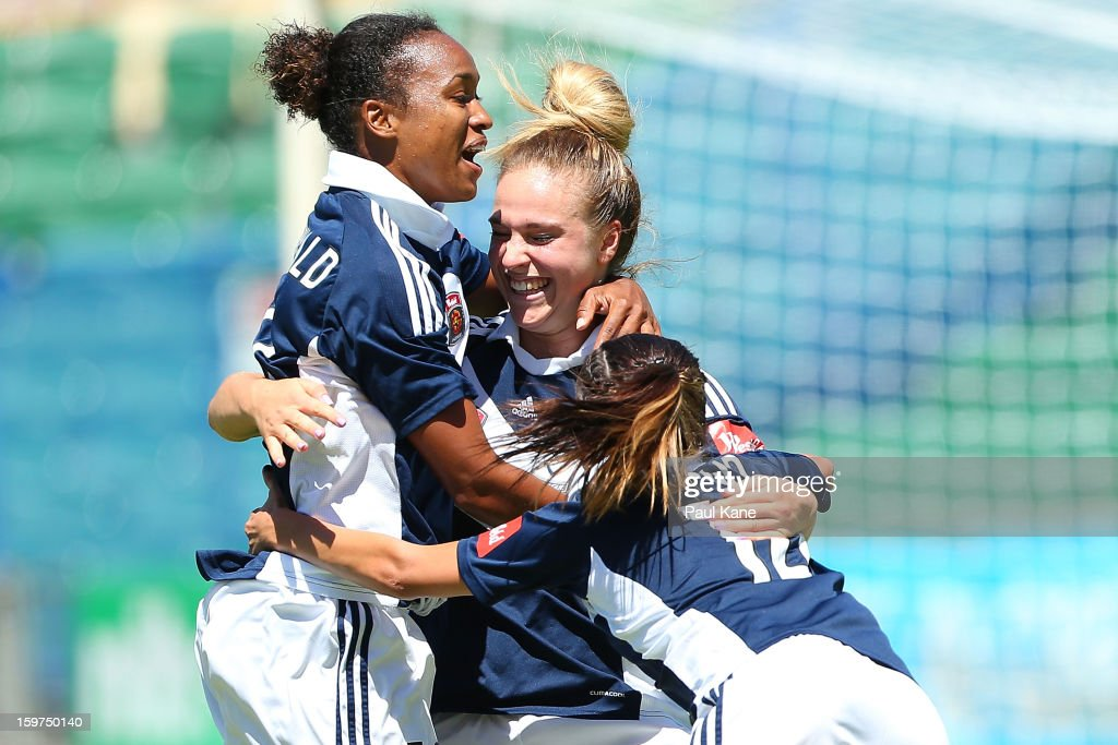 Laura Spiranovic of the Victory is congratulated after scoring a goal during the W-League Semi Final match between Perth Glory and Melbourne Victory at nib Stadium on January 20, 2013 in Perth, Australia.
