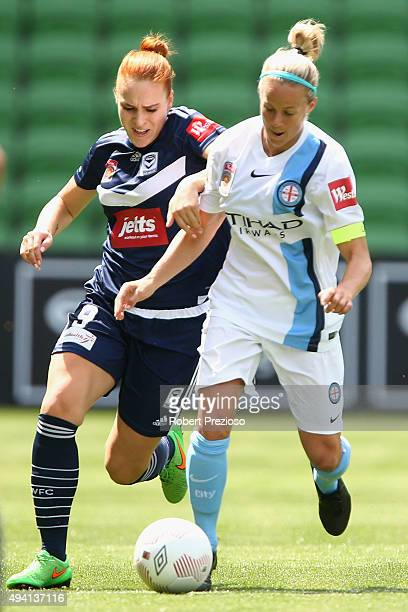Laura Spiranovic of Victory and Marianna Tabain of Melbourne City contest the ball during the round two WLeague match between Melbourne City FC and...
