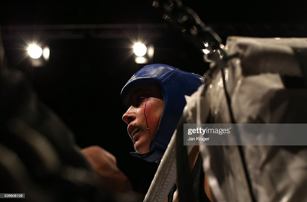 Laura Stevens struggles with a cut in her 69kg final bout with Stephanie Wroe during day three of the Boxing Elite National Championships at Echo Arena on May 01, 2016 in Liverpool, England.