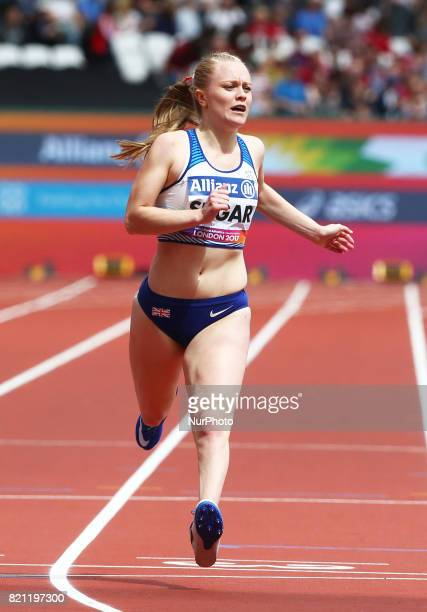 Laura Sugar of Great Britain competing Women's 200m T44 Round 1 Heat 1 during World Para Athletics Championships at London Stadium in London on July...