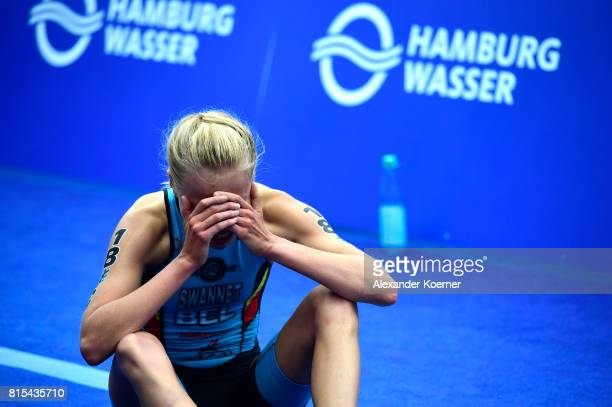 Laura Swannet of Belgium sits at the finish line during the Elite Mixed Relay at Hamburg Wasser ITU World Triathlon Championships 2017 on July 16...