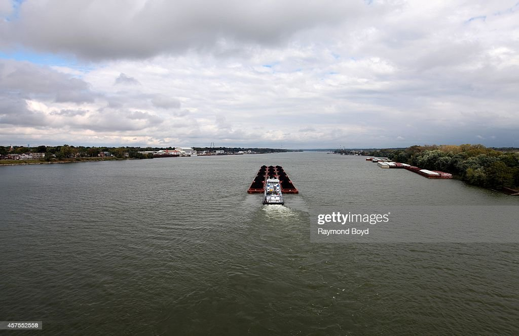 Laura Tamble barge pushes cargo up the Ohio River on October 03 2014 in Louisville Kentucky