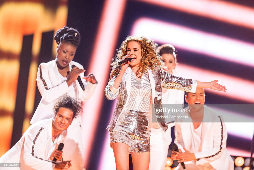 Laura Tesoro representing Belgium performs the song 'What's The Pressure' during the semifinals of the 2016 Eurovision Song Contest at Ericsson Globe...