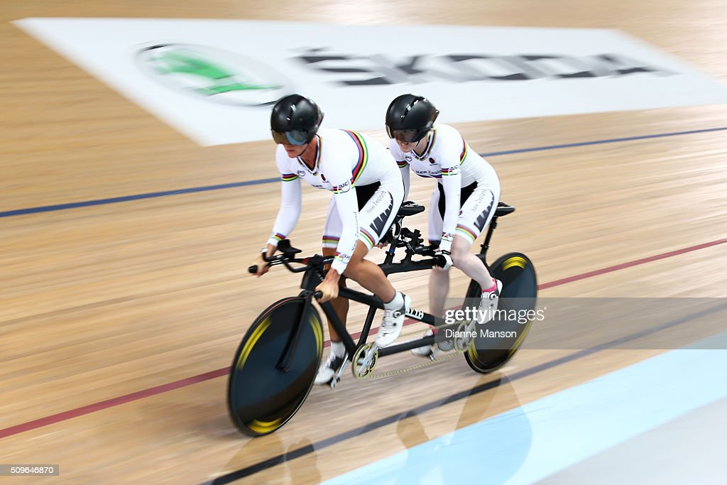 Laura Thompson (Pilot) and Emma Foy of New Zealand compete in the Paracyclist Women Tandem 3000m Individual Pursuit during the New Zealand Track National Championships on February 12, 2016 in Cambridge, New Zealand.
