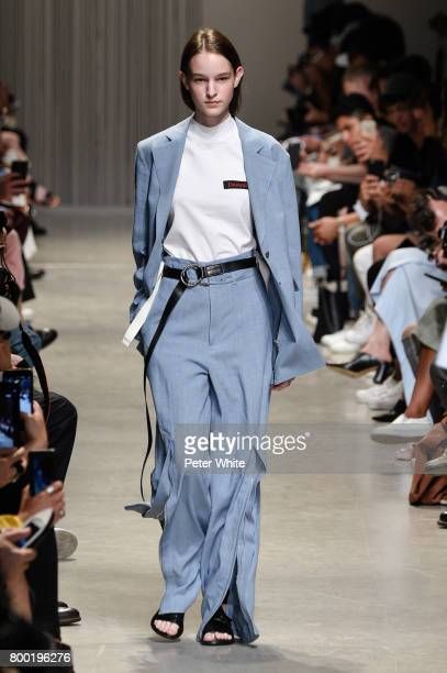 Laura Toth walks the runway during the Christian Dada Menswear Spring/Summer 2018 show as part of Paris Fashion Week on June 23 2017 in Paris France