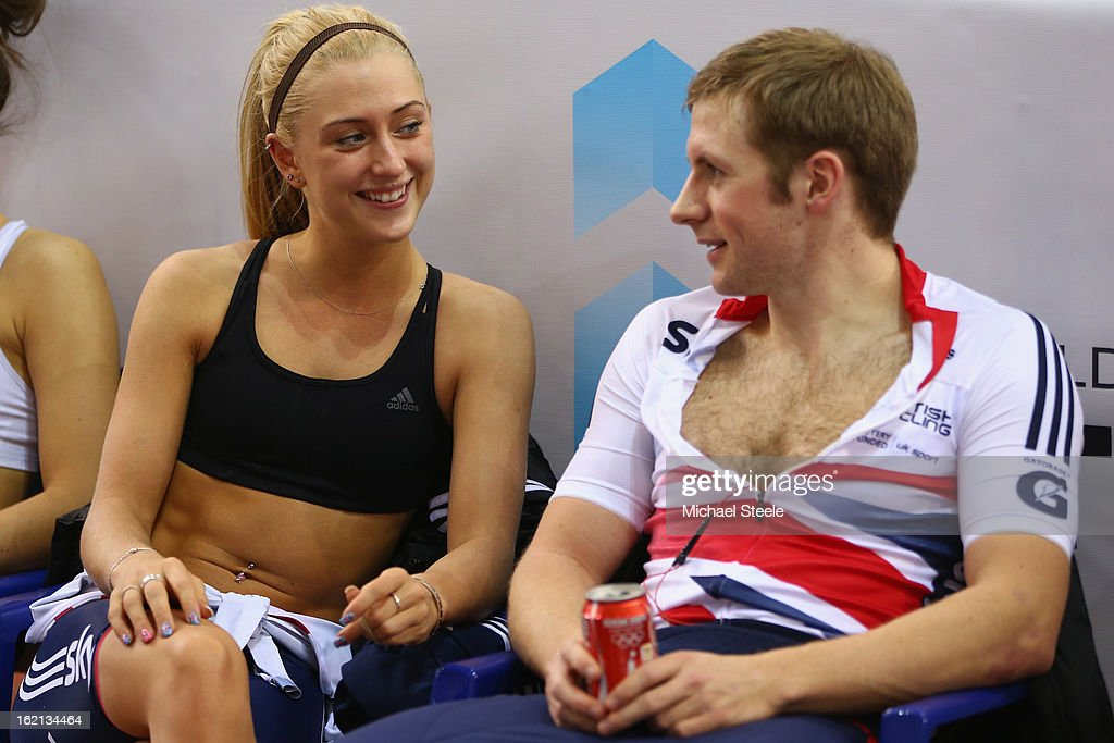 <a gi-track='captionPersonalityLinkClicked' href=/galleries/search?phrase=Laura+Trott+-+Cyclist&family=editorial&specificpeople=7205074 ng-click='$event.stopPropagation()'>Laura Trott</a> (L) alongside her boyfriend and team mate <a gi-track='captionPersonalityLinkClicked' href=/galleries/search?phrase=Jason+Kenny&family=editorial&specificpeople=4167086 ng-click='$event.stopPropagation()'>Jason Kenny</a> (R) during practise ahead of the UCI Track World Championships at Minsk Arena on February 19, 2013 in Minsk, Belarus.