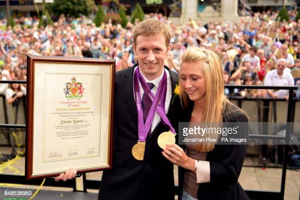 Laura Trott and Jason Kenny at a reception in honour of his two Olympic gold medals at Bolton Town Hall Lancashire where thousands of people gathered...