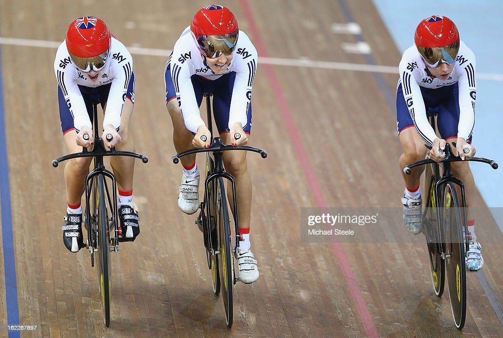 Laura Trott (R), Dani King (C) and Elinor Barker (L) of Great Britain cross the finishing line to win gold in the women's team pursuit final during day two of the UCI Track World Championships at Minsk Arena on February 21, 2013 in Minsk, Belarus.
