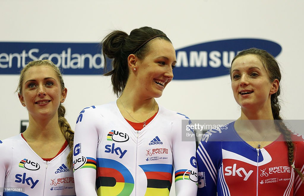 <a gi-track='captionPersonalityLinkClicked' href=/galleries/search?phrase=Laura+Trott&family=editorial&specificpeople=7205074 ng-click='$event.stopPropagation()'>Laura Trott</a>, <a gi-track='captionPersonalityLinkClicked' href=/galleries/search?phrase=Dani+King+-+Cyclist&family=editorial&specificpeople=7505449 ng-click='$event.stopPropagation()'>Dani King</a> and Elinor Barker of Great Britain stand on the podium after winning the Women's Team Pursuit during day one of the UCI Track Cycling World Cup at the Sir Chris Hoy Velodrome on November 16, 2012 in Glasgow, Scotland.