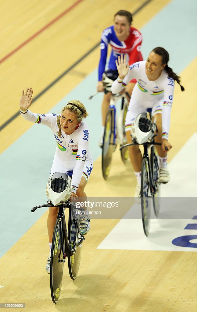 Laura Trott, Dani King and Elinor Barker of Great Britain wave to the crowds after winning the Women's Team Pursuit during day one of the UCI Track Cycling World Cup at the Sir Chris Hoy Velodrome on November 16, 2012 in Glasgow, Scotland.