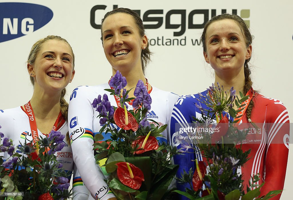 Laura Trott, Dani King and Elinor Barker stand on the podium after winning the Women's Team Pursuit during day one of the UCI Track Cycling World Cup at the Sir Chris Hoy Velodrome on November 16, 2012 in Glasgow, Scotland.