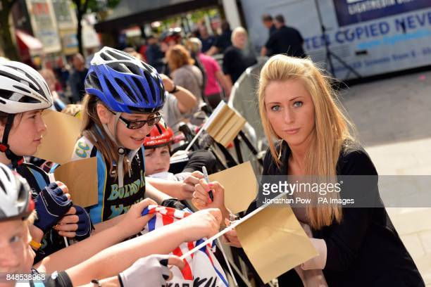 Laura Trott greets fans at a reception for Jason Kenny in honour of his two Olympic gold medals at Bolton Town Hall Lancashire where thousands of...