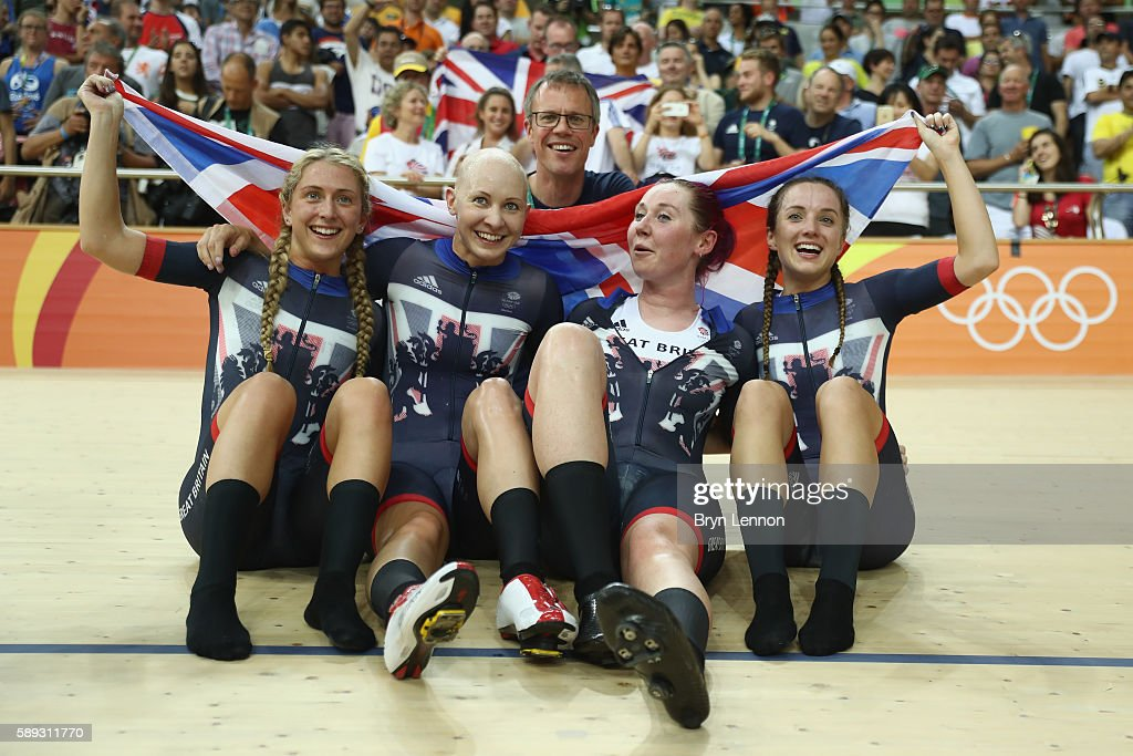 Laura Trott Joanna RowsellShand Katie Archibald Elinor Barker of Great Britain celebrate winning the gold medal after the Women's Team Pursuit Final...
