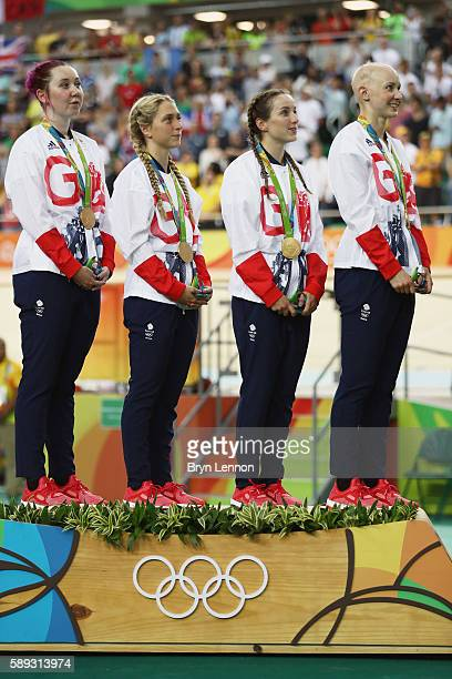 Laura Trott Joanna RowsellShand Katie Archibald Elinor Barker of Great Britain stand on the podium at the medal ceremony for the Women's Team Pursuit...