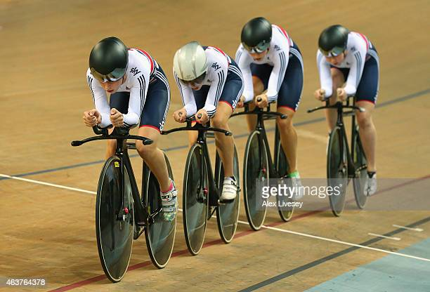 Laura Trott leads Elinor Barker Katie Archibald and Joanna Rowsell of the Great Britain Cycling Team in the Women's Team Pursuit qualifying round...