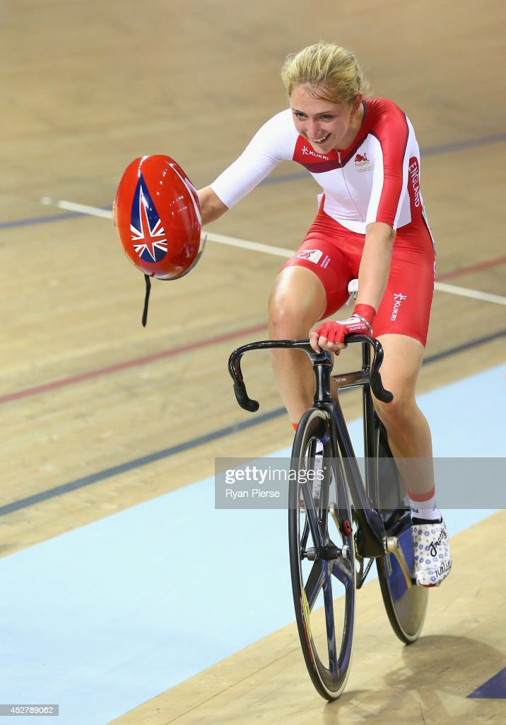 Laura Trott of England celebrates after winning the Women's 25km Points Race Final at Sir Chris Hoy Velodrome during day four of the Glasgow 2014 Commonwealth Games on July 27, 2014 in Glasgow, United Kingdom.